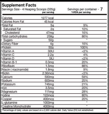 Inner armour Hard mass gainer 5lb info panel buy at Stealth Supplements