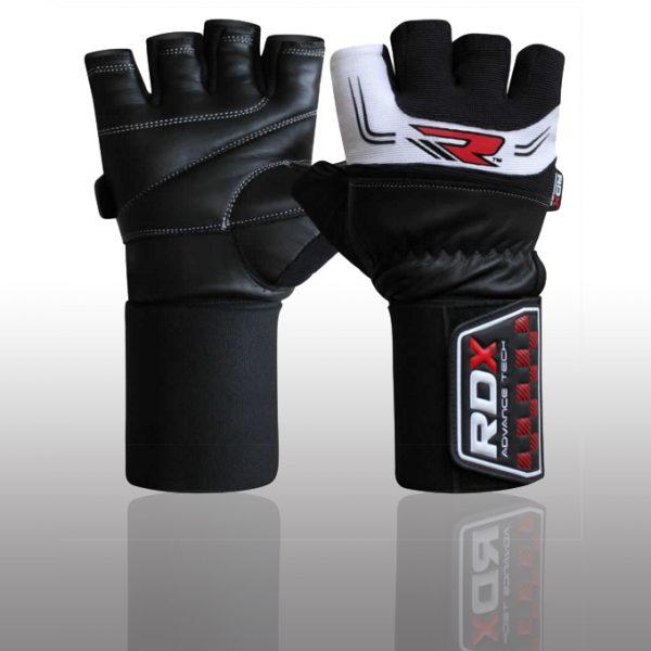 RDX Gym Training Leather 35 Weight Lifting Gloves whiteblack
