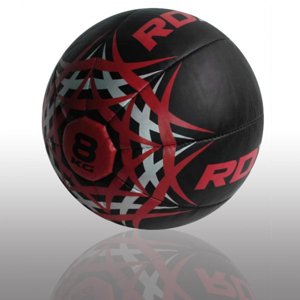 RDX Heavy Leather-X Exercise Training Medicine Ball red .black