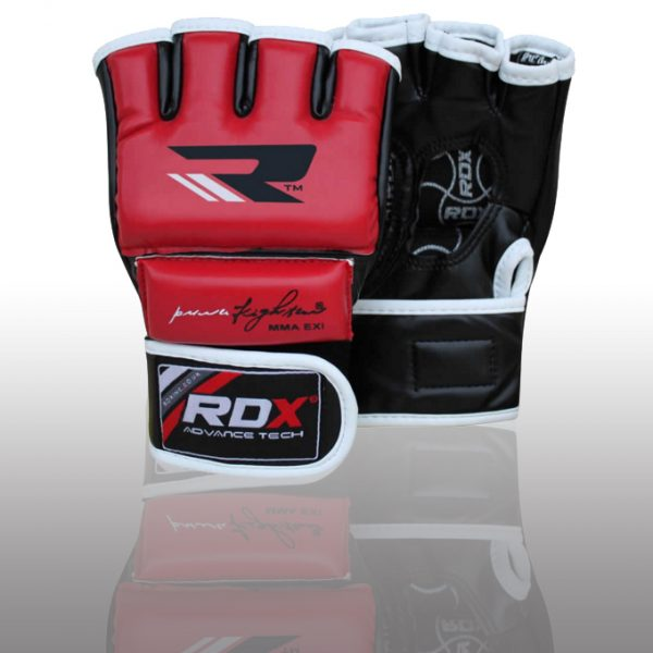 RDX Leather-X Training Grappling MMA Gloves red